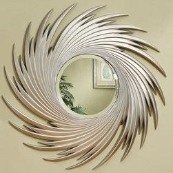 Coaster - 901736 Mirror - Round mirror adorned with a silver spiral design.