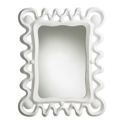 Arteriors - Primitives Mirror - Art deco meets Mayan — a style popular in midcentury Mexico — is the inspiration behind this wall mirror. With its bold white plaster frame treated to a resin finish, it's an ideal accent piece for your favorite setting.