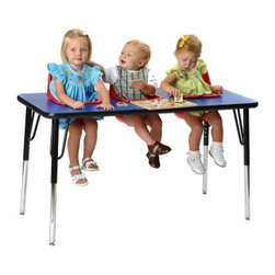 3 Seat Toddler Activity Table - Try out the 3 Seat Toddler Activity Table and you'll prove that in daycare much like a college house party fun is contagious through close contact. Whatever it is they're doing it will be a social activity whether that's mealtime crafts or just playing around. Each removable seat is made from easy-to-clean molded polyethylene and features a safety belt for added security. The tabletops are laminated over wood with durable edge molding and also quite simple to clean. Heavy-duty metal legs can be adjusted to give you a table height anywhere from 19 to 27 inches in height. Both seats and tabletops are available in an array of colors so take the time to pick the color that's right for your institution. These seats are recommended for children ages 5 to 24 months.About Toddler TablesAlmost 30 years ago Toddler Tables founder and church minister Glenn Holland got to work in his garage to fix a problem that he saw every Sunday. He noticed that parents with young children spent more time holding their children than they did being involved in the congregation. With an idea in mind he set out using the best materials and production methods available to help care for the children and assist the parents in his congregation. Holland's hard work paid off when he developed the first Toddler Table. With the seat mounted into the top of the table he was able to provide caregivers with more flexibility in their jobs and gave the children a safe and comfortable way to interact with other children. Before long Holland's new product began making waves in the child care industry and what was once being built in a garage is now produced in the Toddler Tables manufacturing facility in Raleigh North Carolina. Toddler Tables has become a symbol of commitment to the child care industry and even though they've grown beyond Holland's garage their attention to safety and quality are still available to every preschool Sunday school and daycare that cares just as much about the needs of the children they serve.