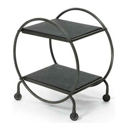 Hoop Table - This unique shaped design table is the part of Our French country furniture collection with wide top and added base shelf for that extra storage space. The vintage steel finish table is made out of iron that ensures longer durability.