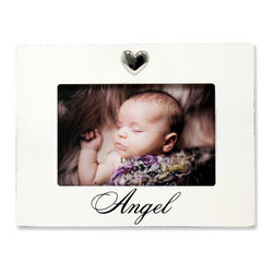 "Lawrence Frames - 6x4 White Wash Angel Picture Frame Heart Ornament - What better way to show off that great photo of your precious baby than with this high quality picture frame!  Beautifully distressed for a casual designer look.  Hand finished and weathered so that no two frames are alike. Decorated with a beautiful chrome ""Heart"" ornament. Finished with a high quality black masonite backing for tabletop display.  This frame comes with glass to protect your photo, and is Individually boxed."