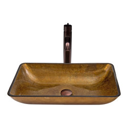 VIGO Industries - VIGO Rectangular Copper Glass Vessel Sink and Seville Faucet Set - The VIGO Rectangular Copper glass vessel sink and Seville faucet set in Oil Rubbed Bronze is a classic and timeless addition to the bathroom.