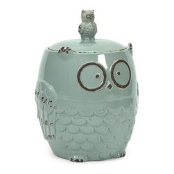iMax - Hoot Owl Cookie Jar - Who wants a cookie from the cookie jar? This owl design jar features a robin's egg blue finish and keeps your favorite snack at reach!