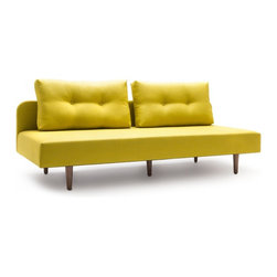 NYFU - Lights Sofa Bed-Mustard - With no corners or edges, this sofa can also be used as a twin bed. Remove the back cushions, and you'll get the space ideal for day time napping.Our sofa beds are not just for day time sleeping, they are bold and strong enough to accommodate your sleep every day & night!The oversized cushions give extra comfort to your back while sitting. The generous foam filling inside the cushions provides a durable structure. Enjoy the fresh flavor which the mustard color brings to your room.