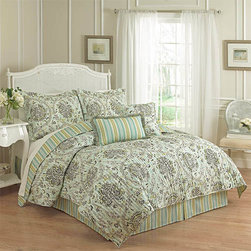 Waverly - Holi Festival Elephant Four-Piece Full/Queen Reversible Quilt Set - - Bring your bedroom decor to life with the Waverly Holi Festival Reversible Quilt Collection. This beautiful ensemble derives its inspiration from the festival of colors celebration throughout India and features interlocking vines and flowers. The bright palette speaks to the landscape in springtime and is expressed in bright greens, blues and neutrals. Quilt and shams are finished with a coordinating striped trim for a decorator look and added value.  - Full/Queen Set Includes Quilt With Two 21-Inch X 26-Inch Pillow Shams And Coordinating Bed Skirt  - Machine Washable Waverly - 13914BEDDF/QELP