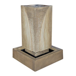 "Ribbed Monolith Outdoor Fountain, Atri - Ribbed on both sides, the Ribbed Monolith is a great contemporary style. With the water rippling down the sides, you won't be able to take your eyes off it. Although not shown, you can add an 18"" sphere on top to add more height."