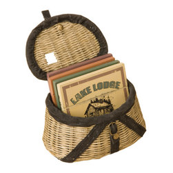 Demdaco - Creel Fishing Basket and Coasters Set of 4 - Coasters  Perfect  for  the  Lake  Lodge          A  charming  way  to  keep  your  coasters  contained  when  not  in  use,  this  adorable  wicker  creek  basket  holds  an  assortment  of  four  vintage-look  coasters  in  plum,  flesh,  sage  and  ivory.  Each  features  a  different  fisherman's  or  lake  lodge  motif.                  Basket  contains  4  coasters              Basket  dimensions:  5L  x  3W  x  3H;  Coaster  dimensions:  4L  x  4W  x  0.25H              Materials:  Wicker,  faux  leather,  metal,  wood