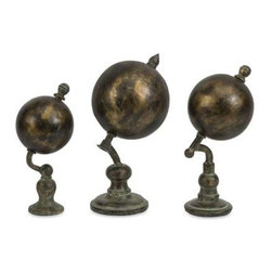 Watson World Globes - Set of 3 - With an industrial inspired, faux verdigris finish, this set of three Watson globes, named after Sherlock Holmes most famous assistant, adds a worldly look to any home or office.