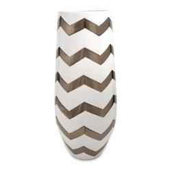 iMax - iMax Bronze Metallic Cheveron Vase X-11252 - Bronze and chevron is a dynamic duo! This Bronze metallic chevron vase will definitely stop you in your tracks.