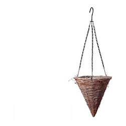 Gracewood Wicker Cone Hanging Basket - Formulate a plan for your garden this year -- Think: Rustic Elegance. The Gracewood Wicker Tapered Hanging Basket reminds us of the old days when wicker planters, window boxes and furniture was everywhere you turned. Nowadays, wicker hanging baskets and planters are pretty tough to find, especially in this unique shape! Every exterior hanging basket has a stunning weave of grapevine and includes a protective inner plastic liner as well as stiff swivel chain hanger for secure installation. Hang basket planters from pergolas, metal wall hooks (sold separately) or adorn your balcony railing. Small space gardeners will appreciate the gently tapered silhouette and ability to go vertical! Available in 2 sizes.