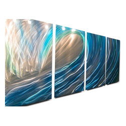 Miles Shay - Metal Art Wall Art Decor Abstract Contemporary Modern Sculpture- Wave - This Abstract Metal Wall Art & Sculpture captures the interplay of the highlights and shadows and creates a new three dimensional sense of movement as your view it from different angles.