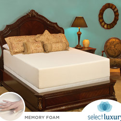 Select Luxury - Select Luxury Medium Firm 14-inch Queen-size Memory Foam Mattress with EZ Fit Fo - Experience the luxury of this 14-inch queen-size memory foam mattress set. It's naturally antimicrobial and resistant to dust mites, making this set perfect for those with allergies. For convenience, the mattress never needs turning.