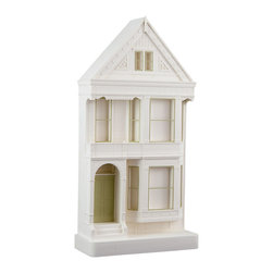 """Chisel & Mouse - Postcard Row - Not just another souvenir! This 1890's landmark, a """"postcard row"""" home given its frequency on traveler's postcards, can beautifully reside atop desks, shelves or tabletops. Crafted with strong plaster for reassuring weight, with window and doorframes in etched brass, this architectural sculpture is a keeper."""