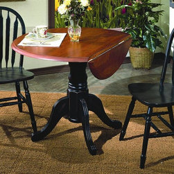 Sunset Trading - 3-Pc Eco-Friendly Pedestal Table Set - Includes one table and two Windsor style arrow back chairs. Traditional classic beauty and style, yet always dependably functional. Sturdy quality craftsmanship. Table:. Solid handcrafted hardwood. Perfect for small areas. Round cafe height table accommodating 2-4 people. Drop table top and base. Standard table height pedestal base. Two 10 in. double drop leafs on either side of table for space-saving convenience. Chair:. Curved, comfort back and scooped seat. Perfectly carved and steel reinforced turned legs. Large backrest and seating area to provide ideal seating solution. Warranty: One year. Made from Malaysian oak. Antique black finish. Made in Malaysia. Table assembly required. Chair: 20 in. W x 19.5 in. D x 38 in. H (16 lbs.). Table:. Minimum: 42 in. L x 24 in. W x 30 in. H. Maximum: 42 in. Dia. x 30 in. H. Weight: 68.22 lbs.This beautifully designed furniture supplied by Sunset Trading will assure you many years of use and enjoyment. Add classic charm to your home without compromising space or style. This Sunset Trading - Sunset Selections Collection Table serves your day-to-day needs yet transforms into the extra needed dining space when guests drop by. Complete your dining decor with the country charm of timeless casual dining chairs from the Sunset Trading - Sunset Selections Collection. Offering , your family and friends will enjoy the seating comfort of these inviting relaxed dining chairs for years to come!