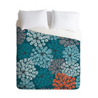 DENY Designs - Khristian A Howell Greenwich Gardens 3 King Duvet Cover - Fall asleep under a bed of blooms with this fun duvet cover. Light and dark aqua, gray, black and persimmon are custom-printed on soft woven polyester in your choice of sizes. Pop in your favorite duvet, zip the hidden zipper and rest easy.