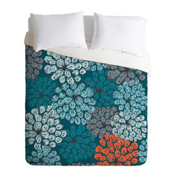Khristian A Howell Greenwich Gardens 3 King Duvet Cover - Fall asleep under a bed of blooms with this fun duvet cover. Light and dark aqua, gray, black and persimmon are custom-printed on soft woven polyester in your choice of sizes. Pop in your favorite duvet, zip the hidden zipper and rest easy.