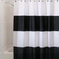 Wide Zeno Black and White Striped Waterproof Shower Curtain - Black and white in the bathroom — nothing but perfection.