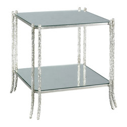 Lillian August - Lillian August Celine Side Table LA99323-01 - A complement to the LA98311-01 hatten cocktail table featuring the faux bois iron base with a clipped corner top and lower shelf. The finish is a handsome aged silver. Antique mirror top and shelf.