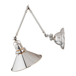 Rejuvenation: Bedroom - The Reed. Industrial-style swing-arm fixture. Multiple finishes available. A great reading light for the bedroom.