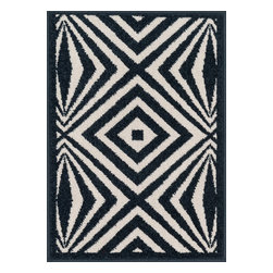 """Loloi Rugs - Loloi Rugs Terrace Collection - Ivory / Navy, 1'-8"""" x 5' - Bold design and bright colors come together beautifully in the outdoor-friendly Terrace Collection. Each Terrace rug is power loomed in Egypt of 100% polypropylene that's specially treated to withstand rain and UV damage without staining or fading color.�"""