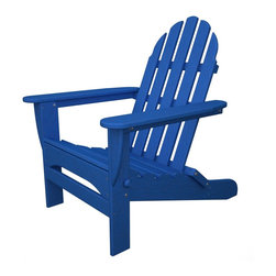 Folding Adirondack Pacific Blue Outdoor Recycled Plastic Furniture - Folding Adirondack chair, perfect for camping concerts, and days at the park!