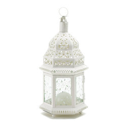 """Koehler Home Decor - Koehler Home Decor White Moroccan Lantern - Candlelight shines from the cutout design of this lovely, lacy ivory lantern. Hexagonal hurricane shape in creamy ivory is stunning against lush garden greenery. Casts a gracious golden glow on a twilit summer's night. Weight 1.2 lbs. Metal with glass. 6""""x 5""""x 12.5"""" high. Candle not included.Weight 1.2 lbs. Material: Metal with glass. Size: 6""""x 5""""x 12.5"""" high."""