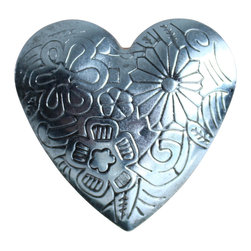DaRosa Creations - Heart Drawer Knobs With Embossed Floral Pattern - Heart Drawer Knobs - Decorative Knobs with embossed Floral Pattern (MK151)