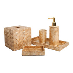 Six Piece Gold  Woven Capiz Bathroom Set - An appealing herringbone pattern is a dynamic element in the Six Piece Gold Woven Capiz Bathroom Set, a classic array of the most vital countertop needs for any bath all rendered in a matching tiled design made from cut capiz shell.  Crafted sustainably from native shells in the Philippines, these accessories are responsible as well as elegant, and their full-bodied, organic golden hue is a sight to behold in a bath where a touch of warmth is wanted.