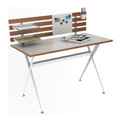 Atlantic Inc - Atlantic Inc Genius Desk with Hutch in White and Natural - Atlantic Inc - Computer Desks - 33935895 - The Genius Desk with Hutch is a functional desk with high design. Durably constructed, this desk comes with 2 paper trays, a pencil holder, and a magnet plate used to hang pictures and hold notes and many other things you don�t want to forget. Two tone color boasts design in White and Natural wood colors.
