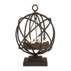 Uttermost - Sammy Wooden Candle Holder - Made from plantation grown mindi wood in a weathered chestnut finish with iron details. White candles included.