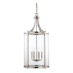Savoy House Lighting - Savoy House Lighting Penrose Transitional Foyer Light - Medium X-901-6-1401-7 - Sleek, cylindrical Penrose foyer and ceiling lights from Savoy House are an excellent choice for lovers of stylish modern design. Penrose fixtures feature clear glass and are available in Satin Nickel, Polished Nickel or English Bronze finishes.