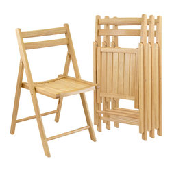 "Winsome Wood - Winsome Wood Set of 4 Folding Chairs in Beech - 4pc set of solid wood folding chairs in natural finish. Traditional styling with curved back and slatted seat for comfortable seating. Seat size is 17.5""x20"". Chairs fold for easy storage when not in use. Folding Chair (4)"