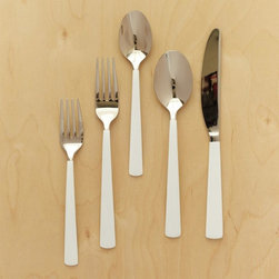 Dipped Flatware 5-piece Place Setting, White - For outdoor entertaining, hand-dipped flatware has all the fun of summer and is so much nicer (and more environmental) than plastic.