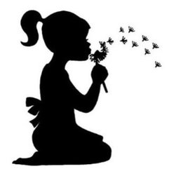 ColorfulHall Co., LTD - Girl Blew Out Dandelion Wall Decal - Kids Wall Decals Litter Girl Blew Out Dandelion