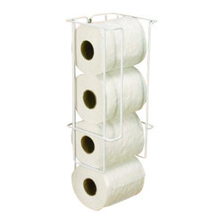 Knape & Vogt Mfg. Co. - Mounted Toilet Paper Holder - This white toilet paper holder mounts to walls or the back of any cabinet door. It is ideal for storing toilet paper. Mounts easily with only 2 screws. Mounts to back of door to utilize unused spaceInstalls easily with 2 screwsHolds 4 rollsDurable white powder-coat finish