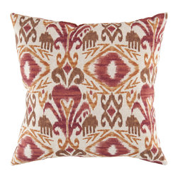 "Surya - Ikat Lumbar Pillow ZZ-419 - 13"" x 20"" - Trendy and traditional blend together perfectly in this pristine pillow, destined to be a centerpiece in your home. Featuring an ikat style pattern, this piece, with vibrant red, orange, and brown coloring, offers a fun, yet functional solution to updating your decor. This pillow provides a reliable and affordable solution to updating your indoor or outdoor decor."