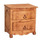 Rustic Pine Nightstand - Bombay nightstand. Rustic mexican pine furniture from Mexico.  Each piece is solid wood and assembled by hand.  This item also works well as an rustic pine End table. 2 solid wood drawers with solid hand forged iron drawer pulls. Slight warping, cracking  and color variations are common in solid wood furniture. The distressed appearance is inherent to the product and not a defect.