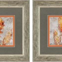 """Paragon Decor - Ashanti, Set of 2 Artwork - Brighten up those boring walls with this colorful set of two """"Ashanti"""" pieces. Each piece depicts an artist's rendering of a amber and carmine flower reaching unavailingly to the sun. The flowers contrast against a background of cement and slate grays, making them appear to leap off the canvas. Each piece is surrounded by a dark slate-gray matte and a muted wooden frame. Each piece in this set measures 14 inches wide by 1 inch deep by 24 inches wide. This piece measures 24 inches wide, 1 inch deep, and 24 inches high."""