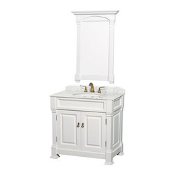 "Wyndham Collection - Wyndham Collection 36"" Andover Single Sink Bathroom Vanity Set in White - Wyndham Collection, the beautiful Andover bathroom vanity series represents an updated take on traditional styling. The Andover is a keystone piece, with strong, classic lines and an attention to detail. The vanity and solid marble countertop are hand carved and stained. Available in Black and Dark Cherry finishes to match any decor. Available in a range of single or double vanity sizes to fit any bathroom."