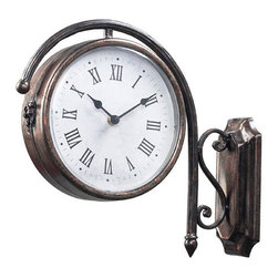 Sterling Industries - Antique Bronze Double Sided Wall Clock - - Antique Bronze Double Sided Wall Clock  - 9 inch diameter clock face  - Requires two AA batteries  - Made of steel Sterling Industries - 125-035