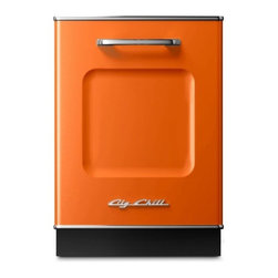 """Big Chill - Big Chill Dishwasher 24 in. wide - Orange - The Big Chill Orange Dishwasher is the perfect addition to your kitchen dcor. 1950s style meets modern functionality with the 24"""" x 35"""" dishwasher that is scratch and fade resistant, trimmed in durable chrome, and built to last. With the orange Big Chill dishwasher you get the retro look you love, and the modern dishwashing power you need."""