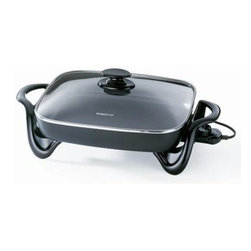 "Presto - Jumbo Electric Skillet - Jumbo size. Big 16"" base with high side-walls for extra cooking and serving capacity. Roasts, fries, grills, bakes. makes casseroles and more. Fully immersible with heat control removed for easy cleaning."