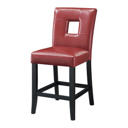 "Coaster - Mix & Match 24""H Counter Height Stool, Red - Set of 2 - These cool contemporary faux leather bar stools will be a wonderful addition to your casual entertainment and dining room. The bar stools are covered in a variety of colors. Choose from faux leather in either 24"" or 29"" height stools to complement your home decor. Pair with our wide selection of counter height tables from for a harmonious contemporary ensemble in your home.; Contemporary Style; Red Vinyl; Dimensions: 19""L x 24""W x 39.50""H"