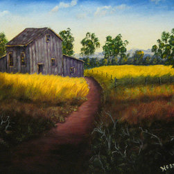 Looking Back (Original) by Don Hester - You will like the depth and color in this painting. I have a fondness for old barns. Over the years I have painted a lot of country scenes like this. Own this signed original by artist Don Hester from Georgia.