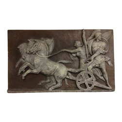 Casa de Arti - Charioteer Race Plaque Wall Plaque Roman Decore Classic Gladiator Architecture - Beautiful wall plaque to display in your home and office decor at an incredible price!