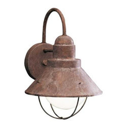 Kichler Lighting - Kichler Outdoor Wall Light in Olde Brick Finish - 9022OB - This outdoor wall light features a sleek nautical design and an attractive Olde brick finish. A conical metal shade is suspended from the circular backplate and surrounds a single bulb. Takes (1) 100-watt incandescent G40 bulb(s). Bulb(s) sold separately. CSA listed. Wet location rated.