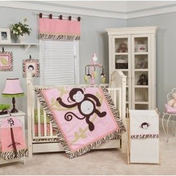 Jolly Molly Monkey 10-piece Crib Bedding Set - About Pam Grace CreationsPam Grace Creations was created by Pam Val, a loving wife and mother of four, in January of 2006. Pam had seven years of experience in the baby bedding and nursery decor industry from working with her sister to run their own baby product business. She brought this experience and knowledge of the industry to her own company, and Pam Grace Creations was born. Pam is committed to providing new parents a combination of style, affordability, and convenience, and to that end she created her Nursery-to-Go 10 piece baby bedding sets. These sets include everything parents need to outfit their new baby's room in a range of styles and color palettes at an affordable price--without having to hunt down their nursery items piece by piece.