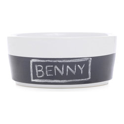 Waggo - Chalkboard Dog Bowl - Personalize your pup's meal with our Chalkboard Dog Bowl! These hand-dipped ceramic dog bowls have a chalkboard bottom- perfect for writing your pup's name or the menu for the evening. Comes with a three pack of chalk.