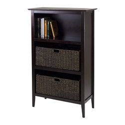 Winsome - Winsome Toscana Storage shelf with 2 Large Baskets in Espresso - Winsome - Storage Cabinets - 92283 - Get organized with this convenient shelf and basket set from Winsome.  Use the included baskets or use it as a display shelf or bookcase.