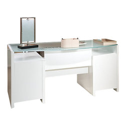 Kathy Ireland Office by Bush Furniture - Kathy Ireland by Bush New York Skyline Bow-Front Desk in Plumeria White - Kathy Ireland Office by Bush Furniture - Executive Desks - KI1020203K - Your desk should work as hard as you do without giving away any style points. The Kathy Ireland Office by Bush Furniture New York Skyline desk is designed for the woman who prizes flexibility but still looks for features like advanced wire management plenty of filing space and two box drawers for office supplies. The reversible frosted glass bow-front top can be set in the middle of the room or against a wall. Extra storage space under the glass top is perfect for matching Kathy Ireland Office by Bush Furniture storage bins. Effortlessly matches all Kathy Ireland Office by Bush Furniture New York Skyline pieces and features Bush Furniture's Quick-to-Assemble technology. All pieces are crafted with painted wood finish and a protective top coat.